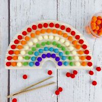 Pom Pom Balls Wooden Rainbow Baby Training Puzzle Montessori Toys Nursery Decor