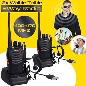 2 Way Radios Walkie Talkie BF-888S UHF 400-470MHz 5W 16CH Portable Two-Way Radio