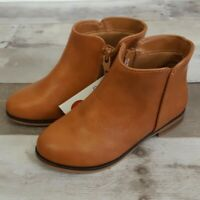 NEW Cat & Jack Toddlers Girls' Side Zip Ankle Boots Cognac Brown Size 10