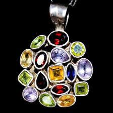 Huge 925 Multi Gemstone Pendant tanzanite GARNET amethist Citrine Peridot Collar