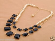 Luxury  Black Gems and Pearls  Necklace
