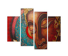 "EXTRA LARGE CANVAS PRINTS RED BUDDHA 4 PANEL 35""(90cm) XXL PHOTO PICTURES PRINT"