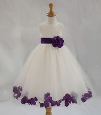 FLOWER GIRL DRESS ROSE PETALS COMMUNION PAGEANT BRIDAL BRIDESMAID FORMAL PARTY