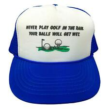 VINTAGE - Funny Humor GOLF - BLUE - Snapback Trucker Hat Cap - Rain - WET BALLS