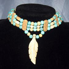 Handmade Native American Turquoise pattern glass bead & Bone Feather Choker NWOT