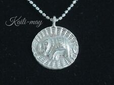 925 Sterling Silver Necklace with Round Shape Pendant and Elephant for Women