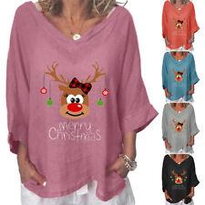 Women Lady Christmas Elk Print V Neck T shirt  3/4 Sleeve Xmas Tops Plus Size AU