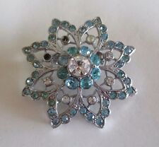 Vintage Sparkly Aqua and Clear Rhinestone Star - Silver Plated Statement Brooch
