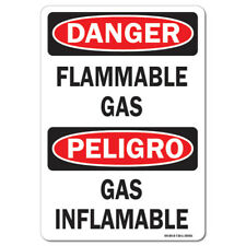 OSHA Danger Sign - Flammable Gas (Bilingual), Vertical   Made in the USA