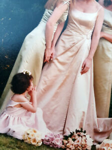Couture tea rose pink wedding dress, based on a Vera Wang design