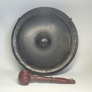 D0814: Japanese old iron gong DORA for Buddhism temple or the tea ceremony room