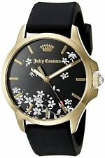 NWT Juicy Couture Jetsetter Black Silicone Strap Watch 38mm LIMITTED EDITION!