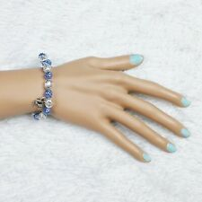 Deluni Fashion Stretch Bracelet Crab Charms Blue Silver Beads Beaded