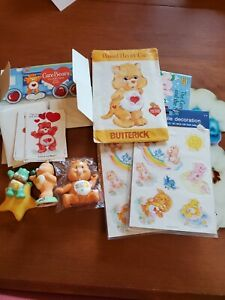 Vintage 1984 Care Bears Lot - Mobile stickers, cards, figure, book, pattern