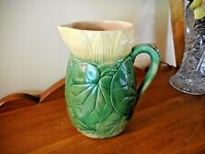 """MAJOLICA ENGLISH HOLDCROFT SUTHERLAND """"WATER LILY"""" 7 1/2 TALL WATER/MILK PITCHER"""