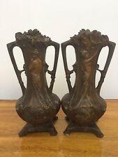 Arts and Crafts Movement PAIR Exquisite Metal Vases Art Nouveau Paris Perfect