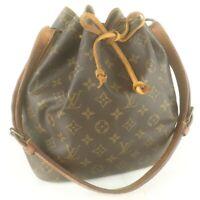 Auth LOUIS VUITTON PETIT NOE Drawstring Shoulder Bag Purse Monogram M42226 Brown
