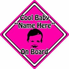 Personalised Cool Baby/Child On Board Car Sign ~ Baby Face Silhouette ~ Pink