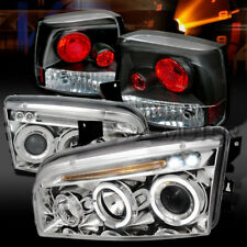 06-08 Charger Chrome Dual Halo LED Projector Headlights+Black Tail Lamps