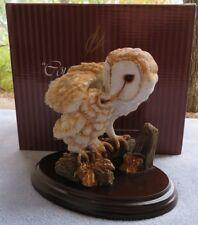 Barn Owl Feed Chick Country Artists Bird Figurine Hand Crafted England Mint wBox