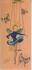 VINTAGE PRETTY FAIRY BALLERINA FISH NET STOCKINGS HELLO GREETING CARD ART PRINT