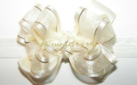 Baby Bow Headband Ivory Gold Organza Satin Lame Newborn Infant Girls 1st Band