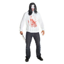Mens Jeff the Killer Fancy Dress Costume incl Wig Creepypasta Horror Outfit