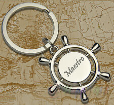 Engraved Wheel yacht boat + your text - Nautical Personalised Keyring Boxed
