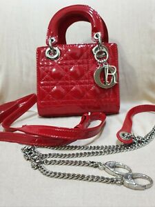 Mini Lady Dior Quilted Patent Leather Bag Red
