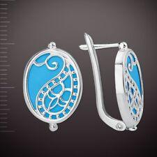 Ohrhänger mit Türkis blau Filigran Russische Ohrringe Sterling Silber 925 Neu
