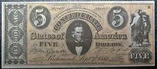 1962 TOPPS CIVIL WAR NEWS CONFEDERATE BUCKS $5 CURRENCY NOTE - High Grade