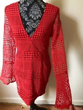 Missguided Red Bell Sleeve Crochet Knit Dress Mini V Neck Size Uk 10 Exc Conditi