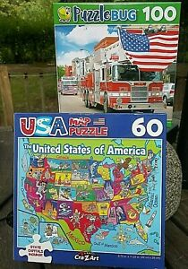 Puzzles Jigsaw Puzzles  The U.S.A map Capitals & Fire Trucks with Flags.