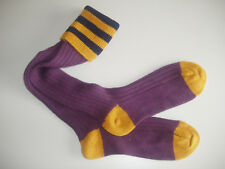 🇬🇧 Striped Shooting/Country Merino Blend Mens Long Socks Purple/Navy/Gold 6-11