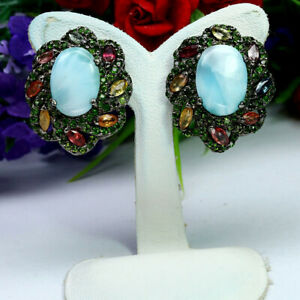 NATURAL 10 X 14 mm. BLUE LARIMAR CHROME DIOPSIDE & SAPPHIRE EARRINGS 925 SILVER