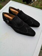 Mens FRATELLI BORGIOLI 100% Leather Suede Black Slip-on Loafer Shoes UK 10