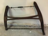 ANTIQUE VINTAGE PRIMATIVE CROSSCUT BOW SAW BUCK SAW - WOOD AND METAL - OLD RARE