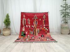 "Vintage Moroccan Boujaad Handmade Rug 4'3""x6 Tribal Abstract Berber Red Wool Rug"