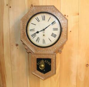 Antique New Haven Pressed Oak Schoolhouse Clock ~ 8 Day ~ Runs