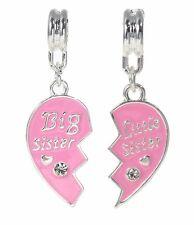 Set Charms Pendants BIG SISTER LITTLE SISTER Broken Heart Fits Charm Bracelet S8