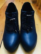 BRAND NEW Women's Size 6 Navy Wedge Ankle Booties embellishment as seen in image