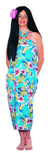 Hawaiian Sarong Halter Style Dress Adult Turquoise Tropical Floral Print Costume