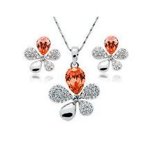 Orange Crystal Stones Flower Petal Leaf Earrings & Necklace Set Gift UK Seller
