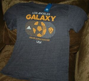 Los Angeles Galaxy soccer t-shirt men's large NEW with tags Adidas MLS gray