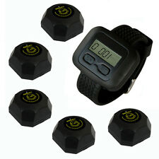 SINGCALL Wireless Waiter Call Pager Systems 5 Button Bells with Coffee Receiver