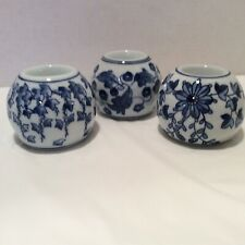 Set of 3 Blue & White Chinoiserie Tea Light Candle Holders Maybe Bombay?