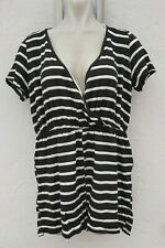Pretty Little Thing Ladies Size 12 Black White Striped Playsuit Summer Fashion