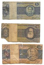 BRASILE - 3 BANCONOTE anni '70 : 5 CRUZEIROS , 10 CRUZEIROS e 50 CRUZEIROS