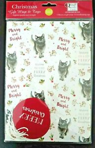 Christmas Wrapping Paper - Merry & Bright - 5 Sheets 50 x 70cms & 5 tags