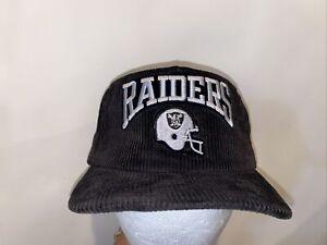 Vtg Los Angeles Raiders New Era Corduroy Cord Script Hat Black Still New! USA